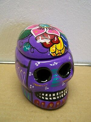Day of the Dead UPRIGHT Painted Skull Stash Box/Jewelry Box - Purple