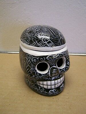 Day of the Dead UPRIGHT Painted Skull Stash Box/Jewelry Box - Black w Villagers