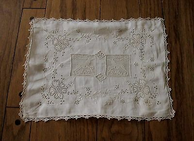 Antique Hand Embroidery Flowers Deer & Trim Lace Linen Pillow Cushion Cover