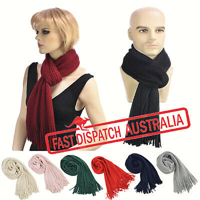 Men Ladies School Wool Touch Knitted Thermal Scarf Winter Neck Warmer wth Fringe