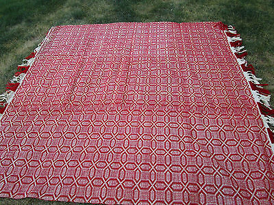 1930's Antique Vtg. RED Hand Woven Sheep Wool Romanian KILIM Blanket 88X93""
