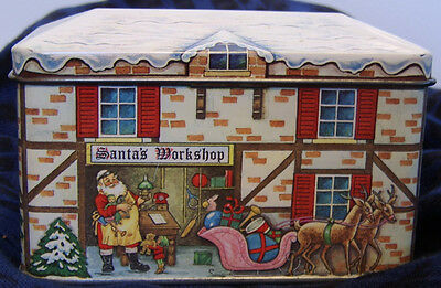 Vintage Santa's Workshop Tin - Designed by Daher - England / Product Container