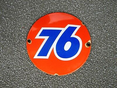 """Union 76 Old Porcelain Sign ~4-3/4"""" Oil Pump Advertising Gas Station Lubester"""