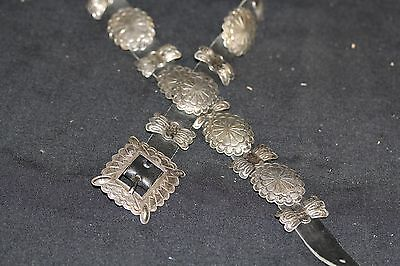 Vintage Navajo Concho Belt Sterling 21 Conchos And Buckle, Black Leather Signed.