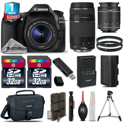 Canon EOS 80D DSLR Camera + 18-55mm IS + 75-300mm III + 64GB Kit + 1yr Warranty