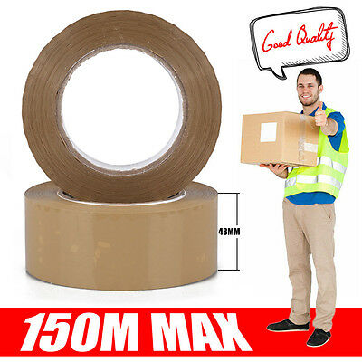 Extra Strong Big Tape Parcel Packing Tape 48Mm X150M Brown/buff Low Noise Large