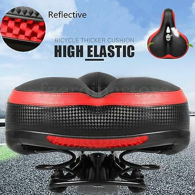 Wide Big Bum Bike Reflector Saddle MTB Road Bicycle Cycling Comfort Seat Gel Pad