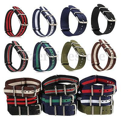Watch Strap Band Military Army Nylon Stainless Steel Buckle Men Women 18mm 20mm