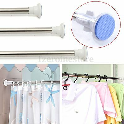 Stainless Steel Spring Telescopic Shower Curtain Rail Extendable Bath Pole Rod