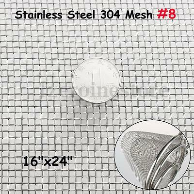 Stainless Steel Woven Wire 8 Mesh Filter Sheet Cloth Screen 30cm x 60cm