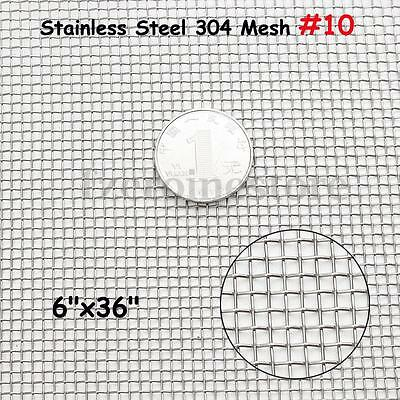 Stainless Steel Woven Wire 10 Mesh Filter Sheet Cloth Screen 15cm x 91cm
