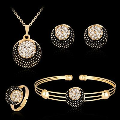 Women Sun and Moon Rhinestone Necklace Bracelet Ring Earrings Jewelry Set New