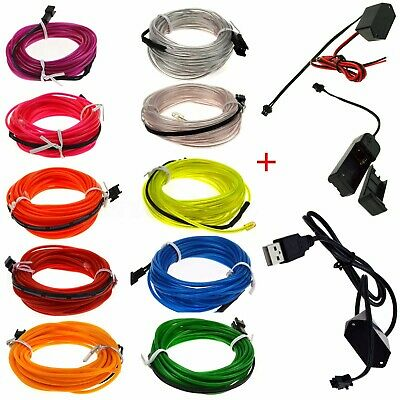 5M Flexible Car Neon LED Lights Glow EL Wire String Strip Rope Battery Operated