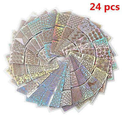 24Sheet Nail Art Transfer Stickers Decal 3D Design Manicure Tips Decoration Tool