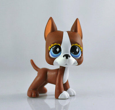 Littlest Pet Brown and White Great Dog Dane Child Girl Figure Toy Loose LPS996