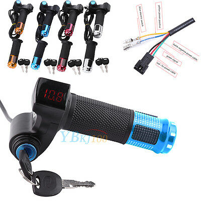 12-84V EBike Electric Scooter Throttle Grip Key Handlebar with LED Digital Meter