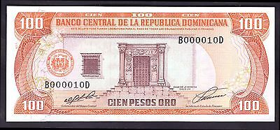 Dominican Republic. 100 Pesos, B000010D. 1991, Almost Uncirculated.