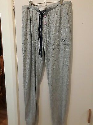 Ladies  Peter Alexander Light Grey Pink buttons Lounge Pants L AS NEW