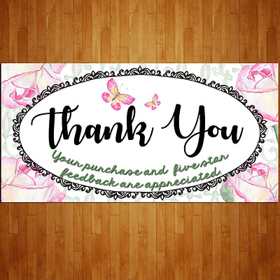 100 Xtra Large French Roses Rectangle eBay Thank You Shipping Label Sticker