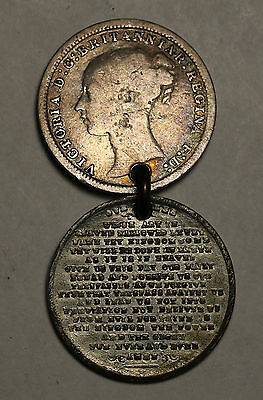 Australia UK Lord's Prayer Medalet + Silver Three Pence 1872 Queen Victoria Coin