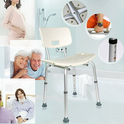 Aluminium Shower Seat Stool Chair Adjustable Height Mobility Disability Aid UK
