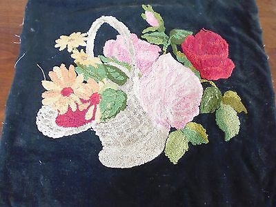 Vintage embroidered cushion front - bold design basket of flowers - Irish