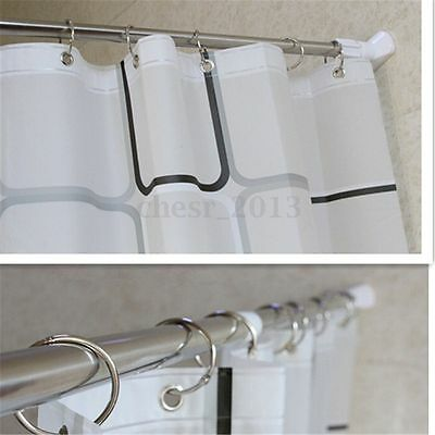 70-120Cm Stainless Shower Curtain Pole Rod Adjustable Tension Door Room Bathroom