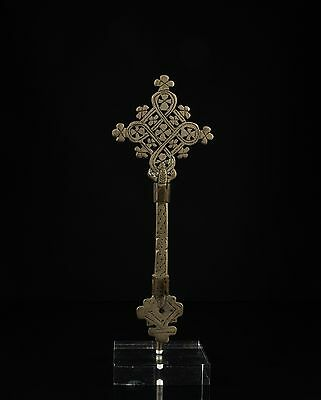 An Old Ethiopian Copper Alloy Coptic Cross -  Custom Stand Mounted.