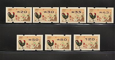 China Macau 2017 New Year of Rooster Cock Zodiac ATM Label Nagler 7 stamp 雞年