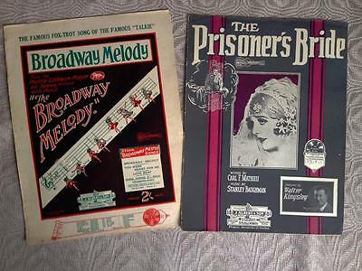 "Art Deco Sheet Music. ""The Broadway Melody"" & ""The Prisoner's Bride"""