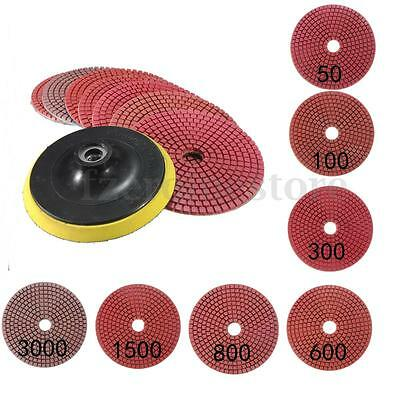 "8Pcs 5""inch Diamond Polishing Pads Wet/Dry Set For Granite Concrete Marble Stone"