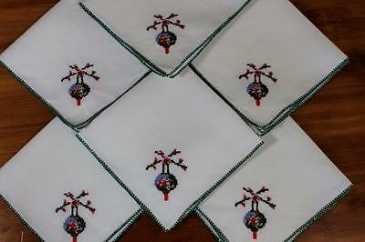 Vintage Linen Embroidered Napkins x 6 - Pretty Chinese Lantern Design