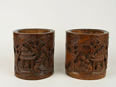A Pair of Fine 19th c. Chinese Carved Bamboo Brush Pots - Bitong.