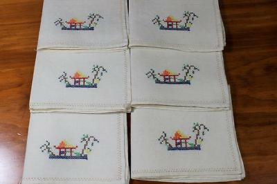Vintage Linen Embroidered Cross Stitch Napkins x 6 - Beige