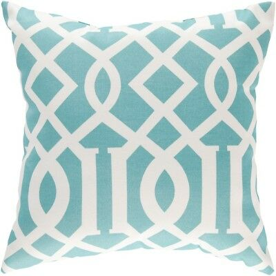 "Storm by Surya Poly Fill Pillow, Aqua/Cream, 18"" x 18"" - ZZ417-1818"