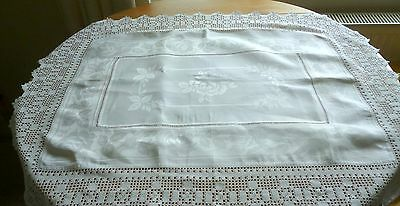 Antique Rose Damask Lace Edged Linen Square Table Topper