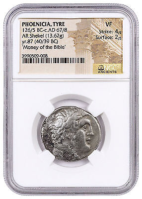 Phoenicia, Tyre Silver Shekel Money of Bible Yr.87 (40/39 BC) NGC VF SKU46029