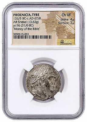 Phoenicia, Tyre Silver Shekel Money of Bible Yr.96 (31/0 BC) NGC Ch. VF SKU46031
