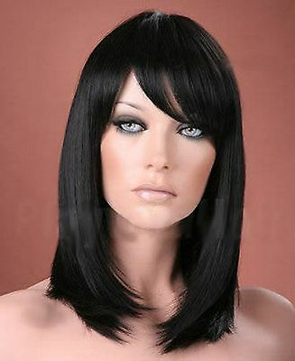 Ladies Long Straight Off Black Full Fashion Wig Forever Young Wigs