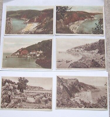 Vintage x6 PHOTOCHROM and SEPIA POSTCARDS of  TORQUAY