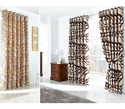 Chenille Jacquard Curtains - Luxury Woven Ring Top Eyelet Lined Curtain Pair
