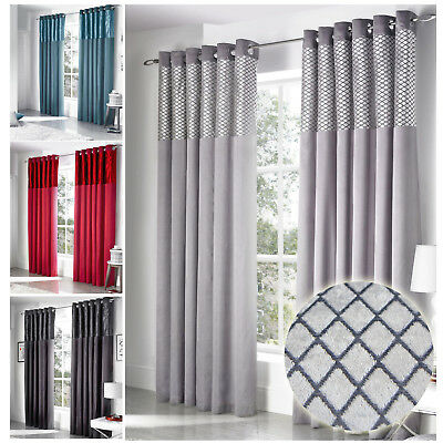 Velvet Diamond Curtains - Fully Lined In Faux Silk With Ring Top Eyelets