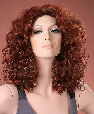 Ladies Long Bouncy Curls Dark Copper Red Mix Full Fashion Wig Forever Young Wigs