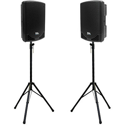 """Pair of Powered 12"""" 2-Way PA Loudspeakers with two Tripod Speaker Stands"""