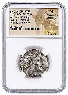 Phoenicia, Tyre Silver Shekel Money of Bible Yr.116 (11/10 BC) NGC VF SKU46035