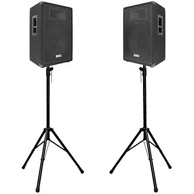 """Pair of Premium 15"""" PA Speakers with two tripod speaker stands - PA/DJ Package"""