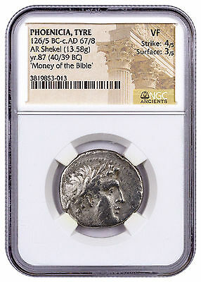 Phoenicia, Tyre Silver Shekel Money of Bible Yr.87 (40/39 BC) NGC VF SKU46037