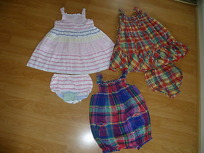 Girls Designer RALPH LAUREN Bundle 2X Dress & Nappy Knickers + Romper Suit 24Mth