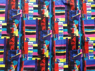 Vintage 70's Cotton Dress Making Fabric Bright Abstract Geometric Design