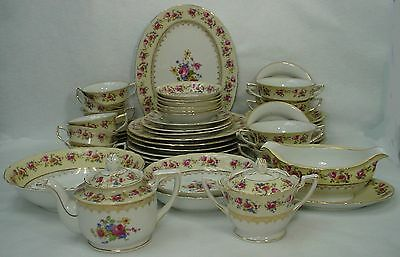 GOLD CASTLE china HOSTESS pattern 49-piece SET including SERVING